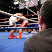 """A judge looks on during the """"Boxeo Telemundo"""" boxing match at the Kissimmee Civic Center on Friday, March 14, 2014 in Kissimmme, Florida. (Photo/Alex Menendez)"""