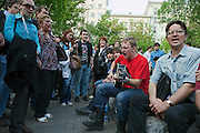 Moscow, Russia, 12/05/2012..Protesters singing in Chistiye Prudy, or Clean Ponds, a park in central Moscow were some 200 opposition activists have set up camp.