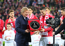 November 15, 2018 - Gdansk, Pomorze, Poland - Zbigniew Boniek gave Robert Lewandowski an award for 100th game for Poland during International Friendly match between Poland and Czech Republic on November 15, 2018 in Gdansk, Poland. (Credit Image: © Mateusz Wlodarczyk/NurPhoto via ZUMA Press)