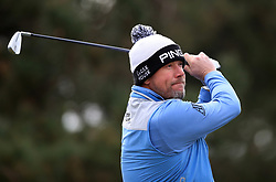Lee Westwood tees off from the 11th during day two of the Betfred British Masters at Hillside Golf Club, Southport.