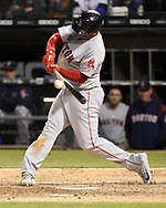 CHICAGO - MAY 04:  Rafael Devers #11 of the Boston Red Sox bats against the Chicago White Sox on May 4, 2019 at Guaranteed Rate Field in Chicago, Illinois.  (Photo by Ron Vesely)  Subject:  Rafael Devers