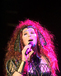 Cher on stage in a concert at the S.E.C.C., Glasgow, Scotland, October 21, 1999.