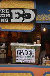 Latitude Festival, Henham Park, Suffolk, UK July 2019. Cafe selling CBD cannabis oil drinks