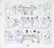 Ancient Etruscan fashion and accessories from Geschichte des kostüms in chronologischer entwicklung (History of the costume in chronological development) by Racinet, A. (Auguste), 1825-1893. and Rosenberg, Adolf, 1850-1906, Volume 1 printed in Berlin in 1888