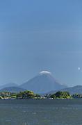 Landscape with view of Las Isletas Islands and a distant volcano, Lake Nicaragua, Granada, Nicaragua