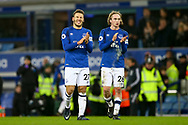 Everton's Nikola Vlasic (l) and Tom Davies look dejected after the game. Premier league match, Everton v Manchester Utd at Goodison Park in Liverpool, Merseyside on New Years Day, Monday 1st January 2018.<br /> pic by Chris Stading, Andrew Orchard sports photography.