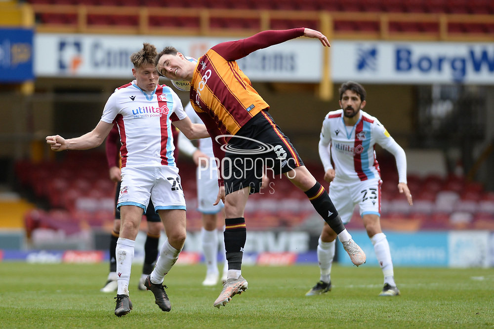 Bradford City Callum Cooke (8) Scunthorpe United Lewis Spence (20) battles for possession during the EFL Sky Bet League 2 match between Bradford City and Scunthorpe United at the Utilita Energy Stadium, Bradford, England on 1 May 2021.