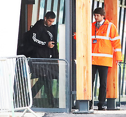 Claudio Bravo and other members of the Manchester City team are seen at Manchester Airport as they travel for their Champions League fixture.
