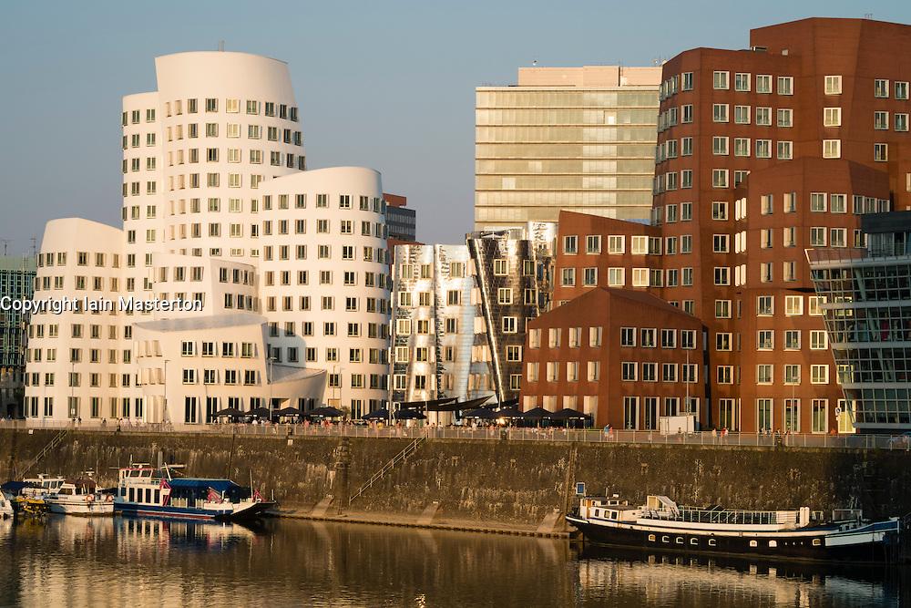Neuer Zollhof buildings designed by Frank Gehry in Medienhafen or Media Harbour in Düsseldorf Germany