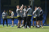 Burton Albion players arrive at the Roots Hall Stadium during the EFL Sky Bet League 1 match between Southend United and Burton Albion at Roots Hall, Southend, England on 22 April 2019.
