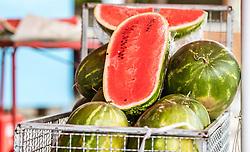 THEMENBILD - Wassermelonen bei einem Markt, aufgenommen am 28. Juni 2018 in Fazana, Kroatien // watermelons at a Market, Fazana, Croatia on 2018/06/28. EXPA Pictures © 2018, PhotoCredit: EXPA/ JFK