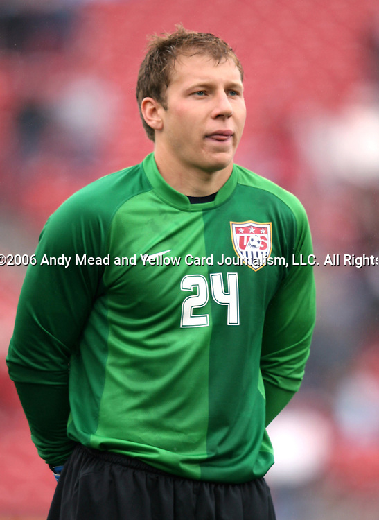 Brad Guzan (24), of the United States, pregame on Sunday, February 19th, 2005 at Pizza Hut Park in Frisco, Texas. The United States Men's National Team defeated Guatemala 4-0 in a men's international friendly.