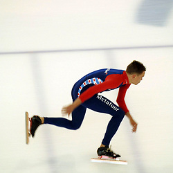 Calgary, Alberta, Canada: Olympic-caliber speed skaters practice on the Olympic oval at the University of Calgary for the upcoming speedskating season. The oval was built for the 1988 Calgary Olympics and is a popular training venue for world-class athletes. July 27, 2005 ©Bob Daemmrich