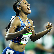 United States hurdler Brianna Rollins won the gold medal in the women's 100m hurdles final on Thursday at Olympic Stadium during the 2016 Summer Olympics Games in Rio de Janeiro, Brazil.