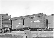 Box car #3524 in yard with standard gauge wood and steel box cars.<br /> D&RGW  Alamosa, CO  Taken by Richardson, Robert W. - 1/1949