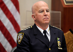 Head of NYPD James O'Neill speaks at a press conference to discuss crime statistics in New York City on August 4, 2016. Bratton announced Tuesday that he will be resigning as NYPD commissioner. Photo by Dennis Van Tine/ABACAPRESS.COM