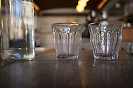 glasses for water in a cafe