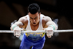 October 29, 2018 - Doha, Qatar - Caio Souza of Brazil   during  High Bar, Team final for Men at the Aspire Dome in Doha, Qatar, Artistic FIG Gymnastics World Championships on October 29, 2018. (Credit Image: © Ulrik Pedersen/NurPhoto via ZUMA Press)