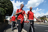 Goalkeeper Jack Bonham of Brentford (l) and Goalkeeper David Button of Brentford (r) arrive outside Griffin Park before k/o. Skybet football league Championship match, Brentford v Ipswich Town at Griffin Park in London on Saturday 8th August 2015.<br /> pic by John Patrick Fletcher, Andrew Orchard sports photography.