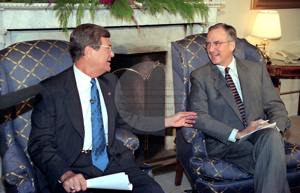 Incoming House Speaker Bob Livingston, right, during his first news conference with Senate Majority Leader Trent Lott on Capitol Hill December 3, 1998 in Washington, D.C. Livingston said he hopes the House wraps up its impeachment inquiry this year but held out the possibility it could carry over to the next Congress unless the Judiciary Committee completes its work next week.