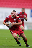 Ken Owens of the Scarlets in action. Guinness Pro12 rugby match, Scarlets v Munster at the Parc y Scarlets in Llanelli, West Wales on Saturday 3rd September 2016.<br /> pic by  Andrew Orchard, Andrew Orchard sports photography.