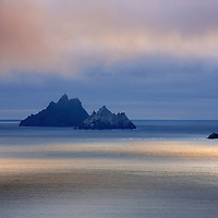 Mystical Sunset Light over Skellig Michael and Little Skellig Island, County Kerry, ireland / sk036