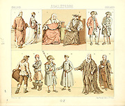 Ancient fashion and lifestyle of England, 18th century from Geschichte des kostums in chronologischer entwicklung (History of the costume in chronological development) by Racinet, A. (Auguste), 1825-1893. and Rosenberg, Adolf, 1850-1906, Volume 5 printed in Berlin in 1888