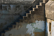 WWll bunker steps, March, afternoon light, Fort Worden State Park, Olympic Peninsula, Washington, USA