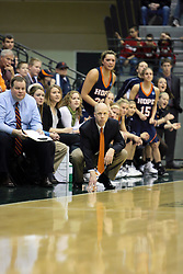 19 March 2010: Coach Brian Morehouse and the bench look on with anticipation. The Flying Dutch of Hope College defeat the Yellowjackets of the University of Rochester in the semi-final round of the Division 3 Women's Basketball Championship by a score of 86-75 at the Shirk Center at Illinois Wesleyan in Bloomington Illinois.