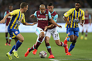 Jonathan Calleri of West Ham United collides into Sofiane Feghouli of West Ham United as they go for the same ball. . EFL Cup, 3rd round match, West Ham Utd v Accrington Stanley at the London Stadium, Queen Elizabeth Olympic Park in London on Wednesday 21st September 2016.<br /> pic by John Patrick Fletcher, Andrew Orchard sports photography.