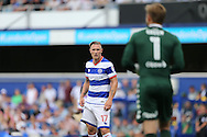 Sebastian Polter of QPR looks on at Rob Green of QPR. Skybet EFL championship match, Queens Park Rangers v Leeds United at Loftus Road Stadium in London on Sunday 7th August 2016.<br /> pic by John Patrick Fletcher, Andrew Orchard sports photography.