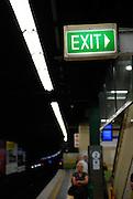 Exit sign above railway station platform. Sydney, Australia