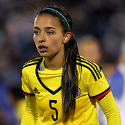 Isabella Echeverri, Colombia, in action during the USA Vs Colombia, Women's International friendly football match at the Pratt & Whitney Stadium, East Hartford, Connecticut, USA. 6th April 2016. Photo Tim Clayton