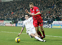 Photo: Paul Thomas.<br />Bolton Wanderers v Liverpool. The Barclays Premiership.<br />02/01/2006.<br />Liverpool's Steven Gerrard (R) is fouled in the penalty area by Joey O'Brien.