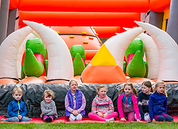 Pictured: (L to R) Callum, Lacey, Emily, Naimh, Emily & Ingrid wait for the opening of the Labyrinth Inflatable Course. Dalkeith Country Park, Midlothian, 04 May 2019. The Labyrinth Challenge is the World's longest, continuous, widest inflatable obstacle course with a series of interactive and wacky obstacles with five  themed zone, and measures over 1000ft in length.<br /> Sally Anderson | EdinburghElitemedia.co.uk