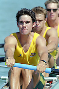 St Catherines, CANADA,  Men's Four, AUS M4- .Ben DODWELL , Bo HANSON , Geoff STEWART ,  Stroke, James STEWART, competing at the 1999 World Rowing Championships - Martindale Pond, Ontario. 08.1999..[Mandatory Credit; Peter Spurrier/Intersport-images]   ...St Catherines, CANADA,  Men's Four, AUS M4- Ben DODWELL, Bo HANSON, Geoff STEWART ,  Stroke, James STEWART, competing at the 1999 World Rowing Championships - Martindale Pond, Ontario. 08.1999..[Mandatory Credit; Peter Spurrier/Intersport-images]   .. 1999 FISA. World Rowing Championships, St Catherines, CANADA
