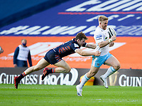 Rugby Union - 2021 Guinness Pro14 Rainbow Cup - Northern Group - Edinburgh vs Glasgow Warriors - Murrayfield<br /> <br /> Kyle Steyn of Glasgow Warriors is tackled by Chris Dean of Edinburgh Rugby<br /> <br /> Credit : COLORSPORT/BRUCE WHITE