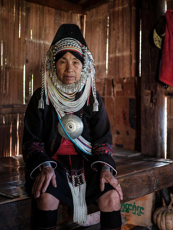 KYAING TONG, MYANMAR - CIRCA DECEMBER 2017: Portrait of an Akha woman in Kyaing Tong.