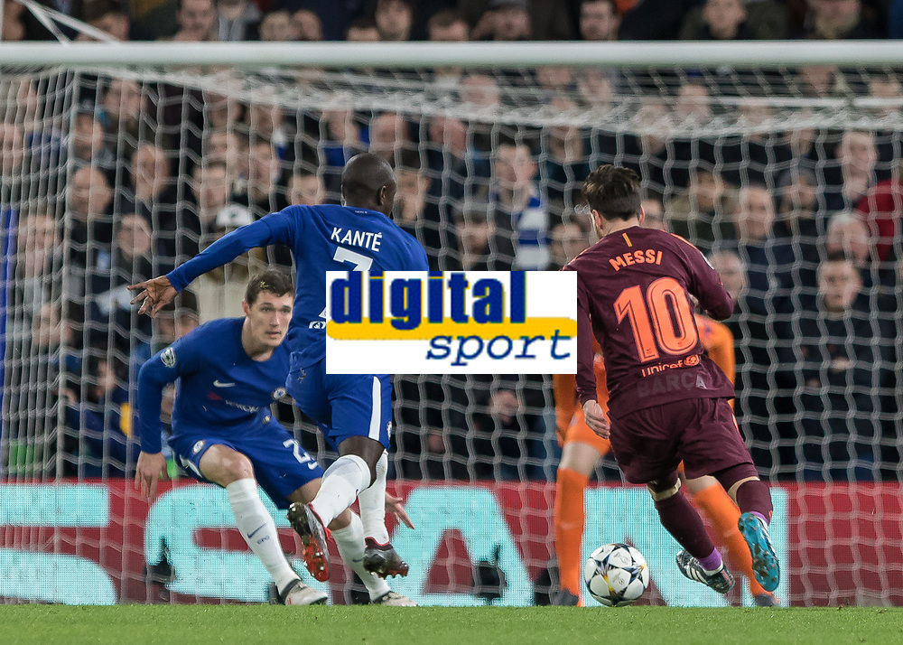 Football - 2017 / 2018 UEFA Champions League - Round of Sixteen, First Leg: Chelsea vs. Barcelona<br /> <br /> Lionel Messi (Barcelona) with a run at the Chelsea goal as Ngolo Kante (Chelsea FC) and Andreas Christensen (Chelsea FC)  try to defend at Stamford Bridge.<br /> <br /> COLORSPORT/DANIEL BEARHAM