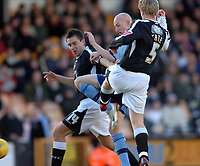 Photo: Paul Greenwood.<br />Port Vale v Swansea City. Coca Cola League 1. 18/11/2006. Vale's Danny Whitaker, centre, tries to break between Marcos Painter, left and Alan Tate
