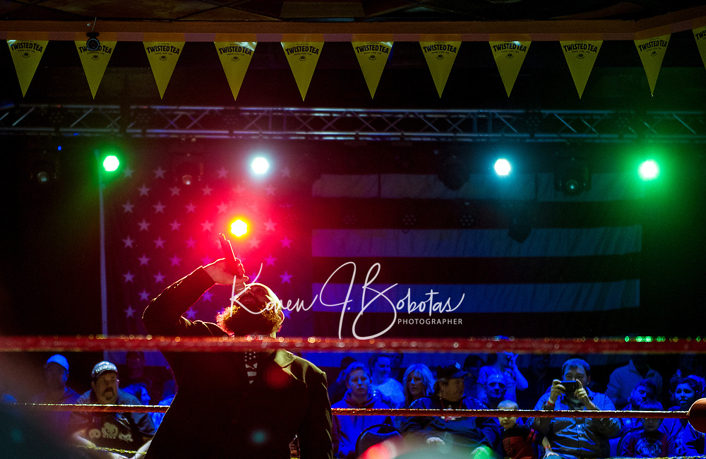 GK Durant announcer for the Pro Wrestling Injustice for Brawl benefit event for PJ Kearney and the Boston Children's Hospital at the Whiskey Barrel in Laconia.  Karen Bobotas for the Laconia Daily Sun