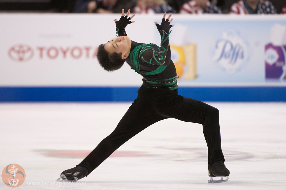 January 4, 2018; San Jose, CA, USA; Tomoki Hiwatashi in the mens short program during the 2018 U.S. Figure Skating Championships at SAP Center.