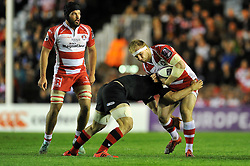Matt Kvesic of Gloucester Rugby takes on the Edinburgh defence - Photo mandatory by-line: Patrick Khachfe/JMP - Mobile: 07966 386802 01/05/2015 - SPORT - RUGBY UNION - London - The Twickenham Stoop - Edinburgh Rugby v Gloucester Rugby - European Rugby Challenge Cup Final