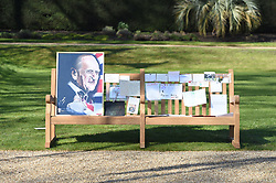 EMBARGOED TO 1100 THURSDAY APRIL 15 Notes and artwork left by members of the public outside Buckingham Palace following the death of the Duke of Edinburgh on display in the gardens of Marlborough House, London, during a visit by the Prince of Wales and the Duchess of Cornwall. Picture date: Thursday April 15, 2021.