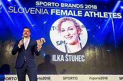 Blaz Bolcar and Ilka Stuhec at Sports Awards & Brands ceremony during Sports marketing and sponsorship conference Sporto 2018, on November 22, 2017 in Hotel Slovenija, Congress centre, Portoroz / Portorose, Slovenia. Photo by Vid Ponikvar / Sportida