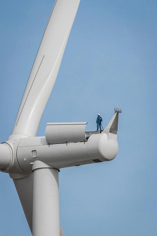 Roger Ball uptower on Siemens Wind Turbine at Duke Energy Los Veintos installation, Texas