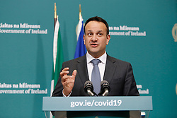 Taoiseach Leo Varadkar speaking in Government Buildings, Dublin, as he briefs the media on the latest measures Government Departments have introduced in response to Covid-19.