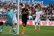 Aleksandar Kolarov of Manchester city watches the ball go out of play for a Manchester city corner.  Premier league match, Swansea city v Manchester city at the Liberty Stadium in Swansea, South Wales on Saturday 24th September 2016.<br /> pic by Andrew Orchard, Andrew Orchard sports photography.