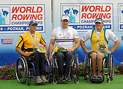 Poznan, POLAND, left Silver medalist UKR ASM1X, Andrii KRYVCHUN, centre Gold medalist GBR ASM1M, Tom AGGAR, and right Bronze medalist, Benjamin HOULISON, on the awards dock at  the 2009 FISA World Rowing Championships. held on the Malta Rowing lake, Saturday  29/08/2009  [Mandatory Credit. Peter Spurrier/Intersport Images] ; Adaptive