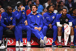 October 19, 2018 - Los Angeles, CA, U.S. - LOS ANGELES, CA - OCTOBER 19: Los Angeles Clippers Center Boban Marjanovic (51) sits on the bench during a NBA game between the Oklahoma City Thunder and the Los Angeles Clippers on October 19, 2018 at STAPLES Center in Los Angeles, CA. (Credit Image: © Brian Rothmuller/Icon SMI via ZUMA Press)